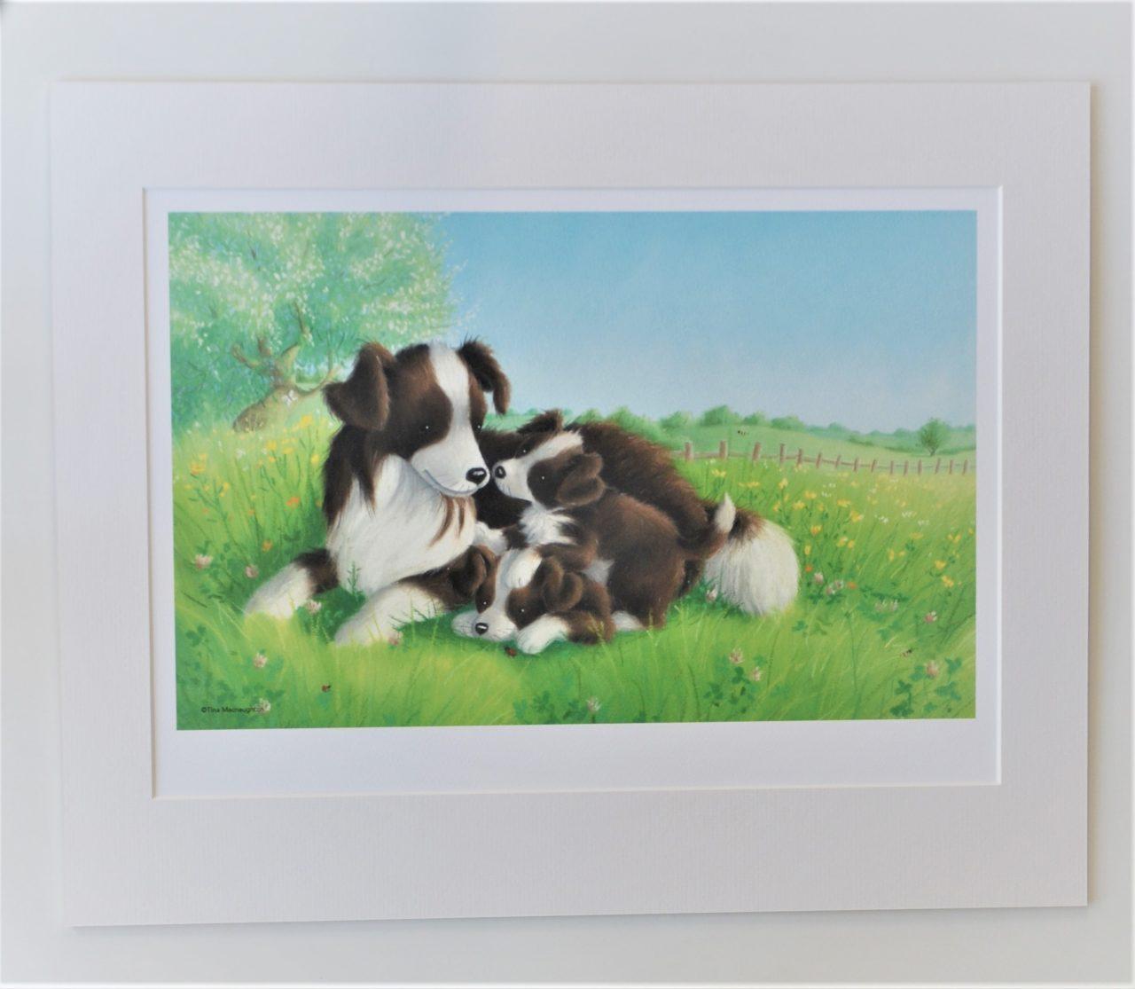 Collie Mum and Two Pups by Tina Macnaughton.