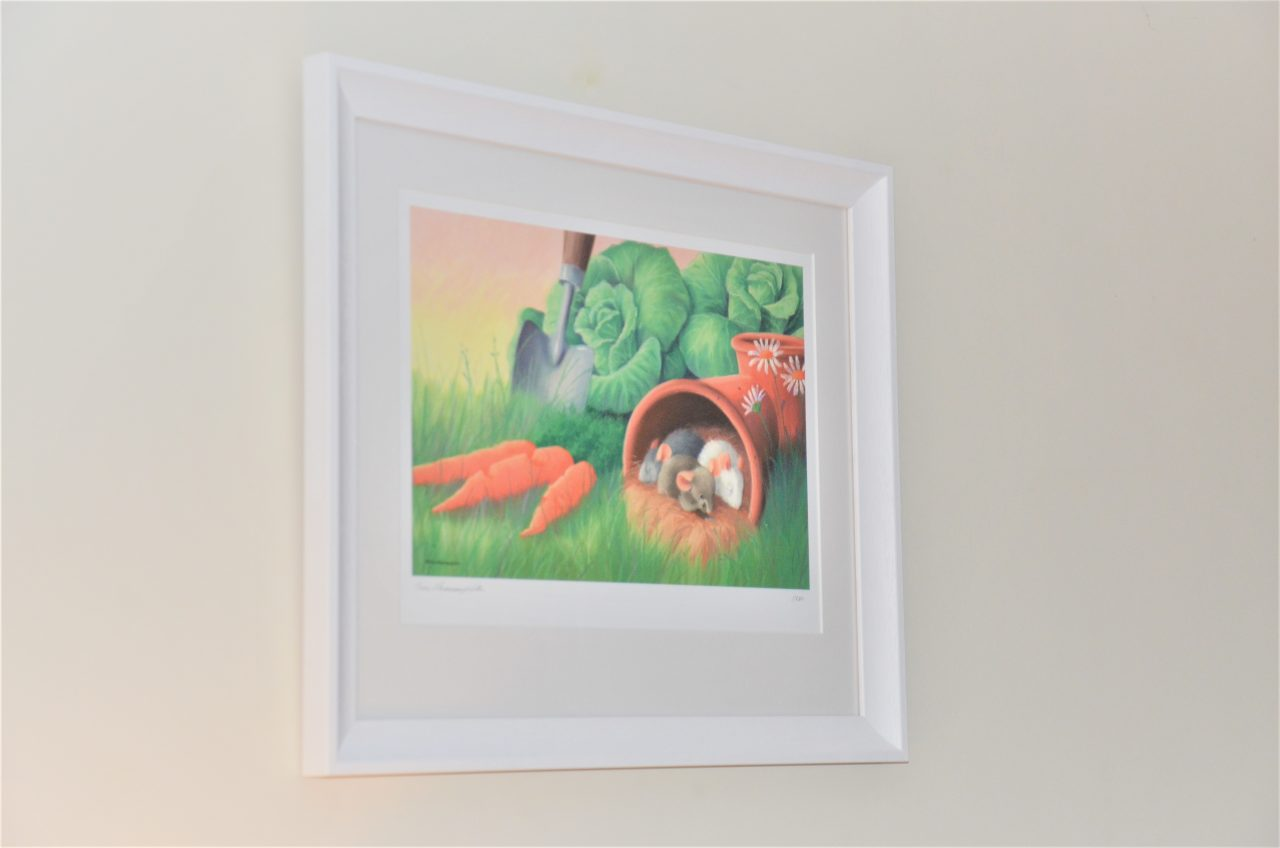 Sleeping Mice in Pot Veg Patch by Tina Macnaughton.