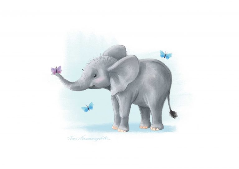 A4-elephant-with-butterfly-on-trunk-print-Blue-Background