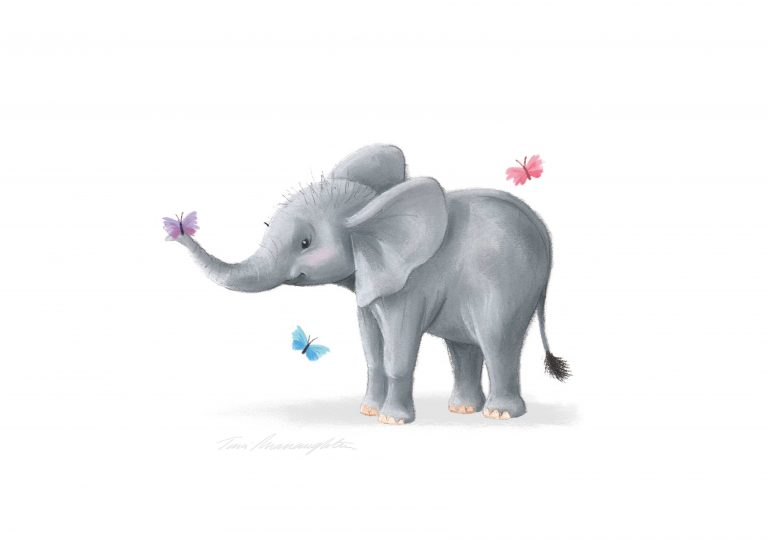A4-elephant-with-butterfly-on-trunk-print-Grey-Background