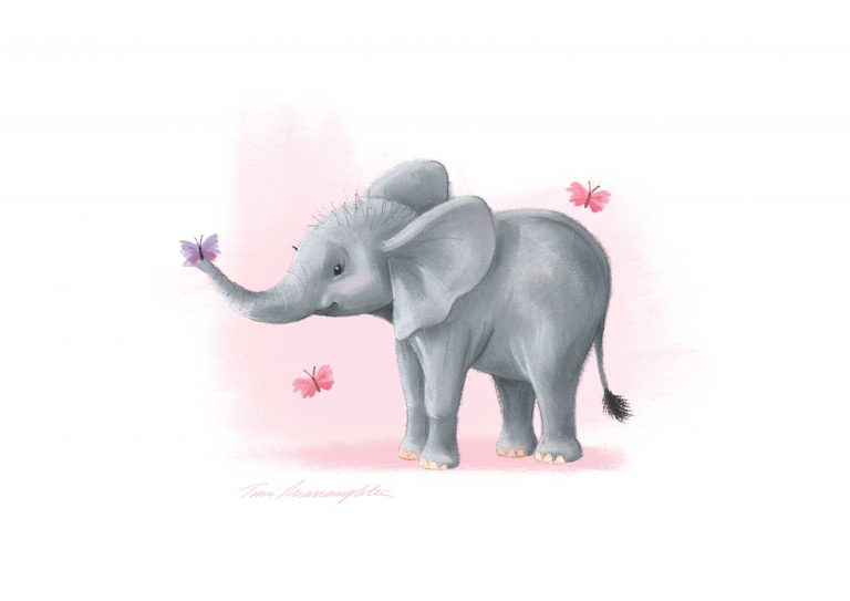 A4-elephant-with-butterfly-on-trunk-print-Pink-Background