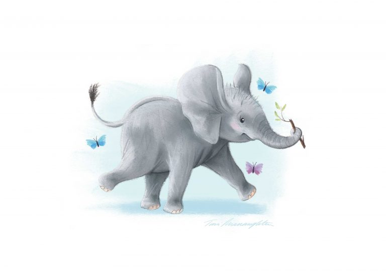 A4-elephant-with-stick-print-Blue-Background