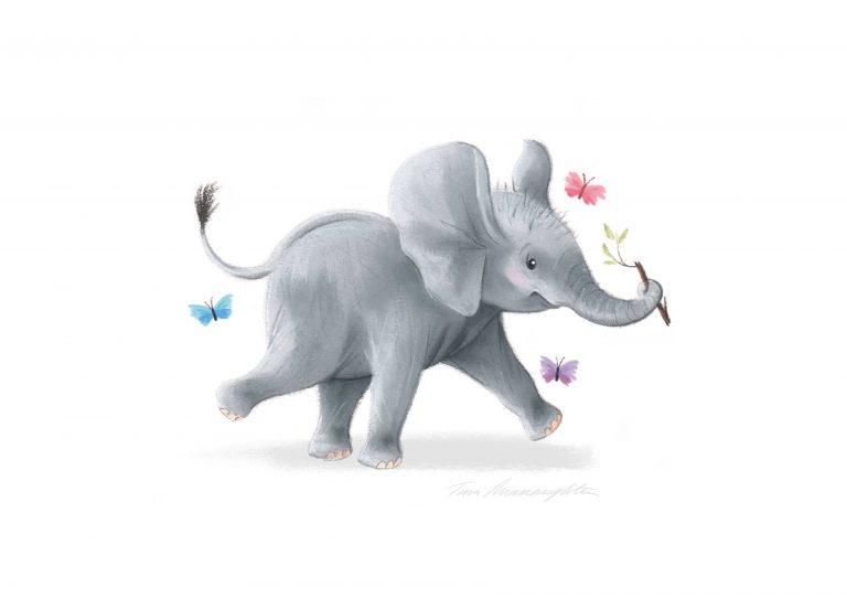 A4-elephant-with-stick-print-Grey-Backgroundi