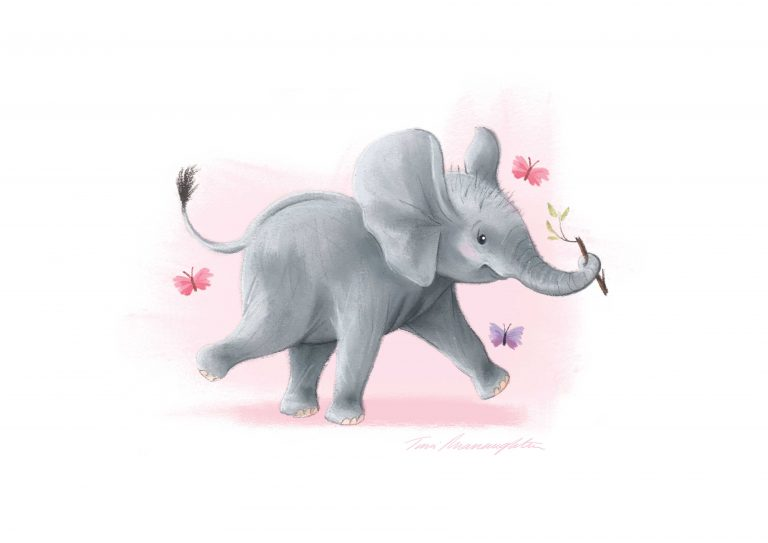 A4-elephant-with-stick-print-Pink-Background