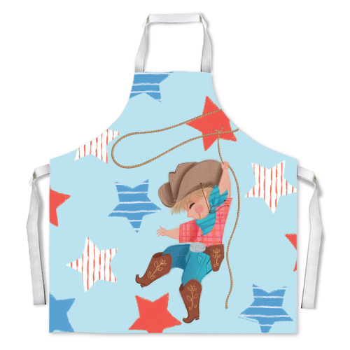 Young Cowboy with Lasso - Apron - by Tina Macnaughton.