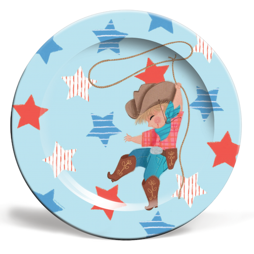 Young Cowboy with Lasso - Plate - By Tina Macnaughton.