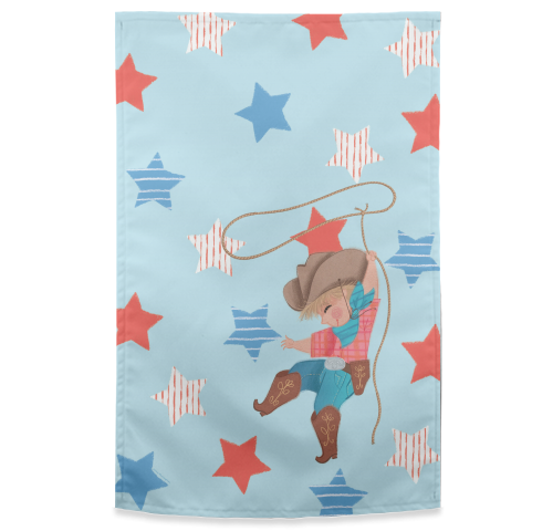 Young Cowboy with Lasso - Tea Towel - by Tina Macnaughton