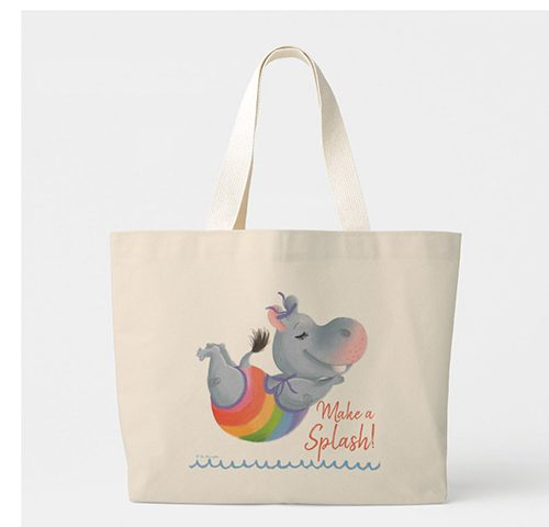 Little Rainbow Hippo Happiness - Make A Splash! Large Tote Bag by Tina Macnaughton.