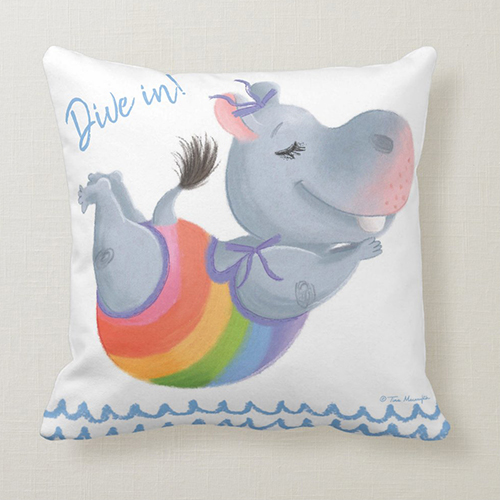 Little Rainbow Hippo Happiness Makes a Splash - Dive In! - Cushion by Tina Macnaughton.
