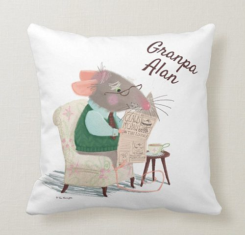 Grandpa Mouse Reading his Newspaper with a Cup of Tea - Grandpa Alan - Cushion by Tina Macnaughton.