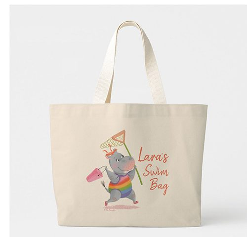 Little Rainbow Hippo Running to the Beach Large Tote Bag by Tina Macnaughton.