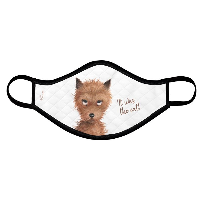 """Cheeky Puppy Dog Eyes - """"It was the cat!"""" Face Mask by Tina Macnaughton."""