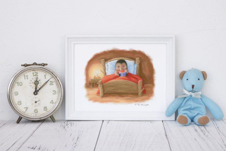 Little Hedgehog Reading in Bed.