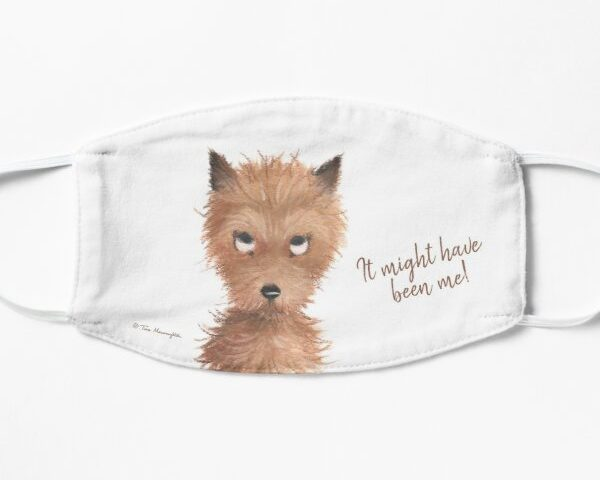 "Cheeky Puppy Dog Eyes - ""It might have been me!"" Face Mask by Tina Macnaughton."