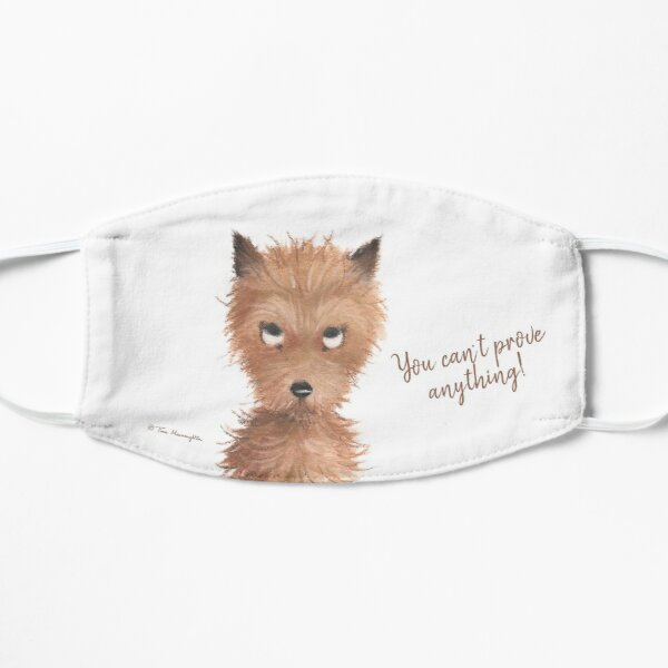 """Cheeky Puppy Dog Eyes - """"You can't prove anything!"""" Face Mask by Tina Macnaughton."""