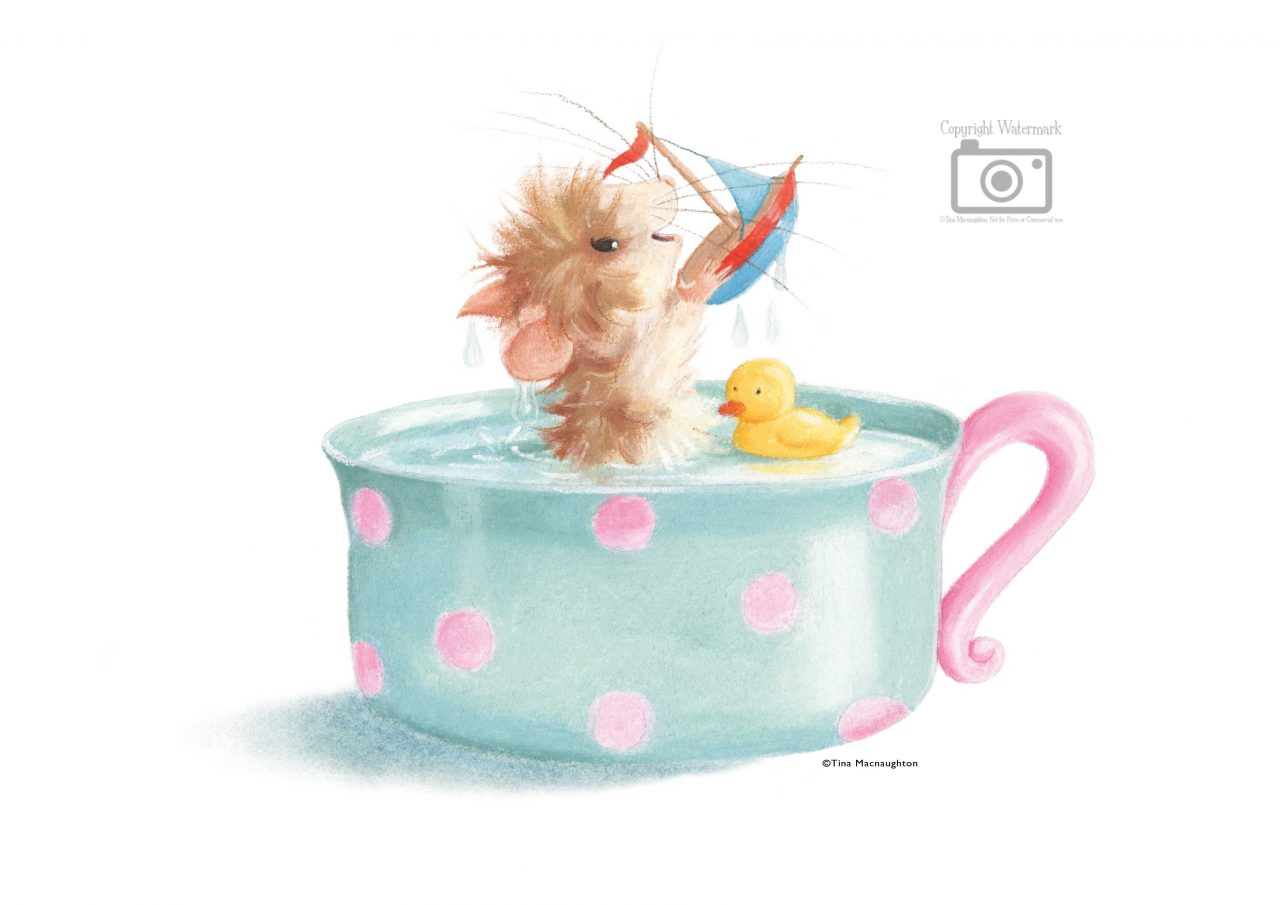 Tiffy Mouse Teacup Bath by Tina Macnaughton.
