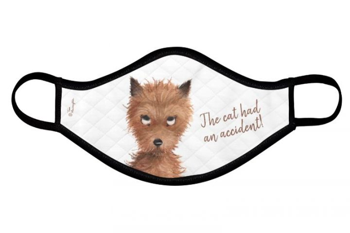 "Cheeky Puppy Dog Eyes - ""The cat had an accident!"" Face Mask by Tina Macnaughton."