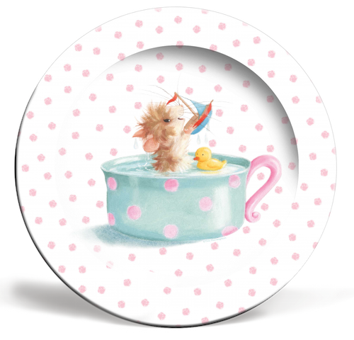 Tifft Mouse Pink Dots Plate by Tina Macnaughton