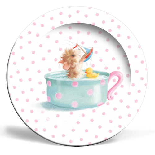Tifft Mouse Pink Dots Plate by Tina Macnaughton