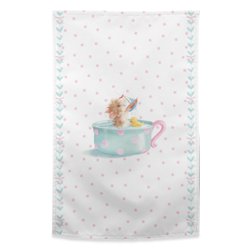 Tifft Mouse Pink Dots Tea Towel by Tina Macnaughton.