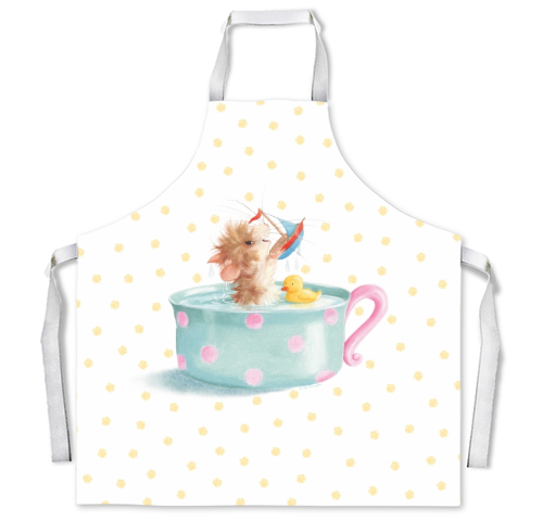 Tifft Mouse Yellow Dots Apron by Tina Macnaughton.