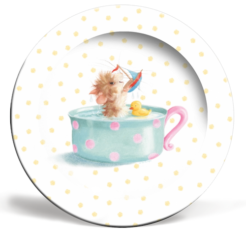 Tiffy Mouse Yellow Dots Plate by Tina Macnaughton