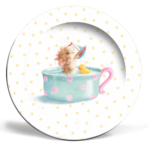 Tiffy Mouse Yellow Dots Plate by Tina Macnaughton