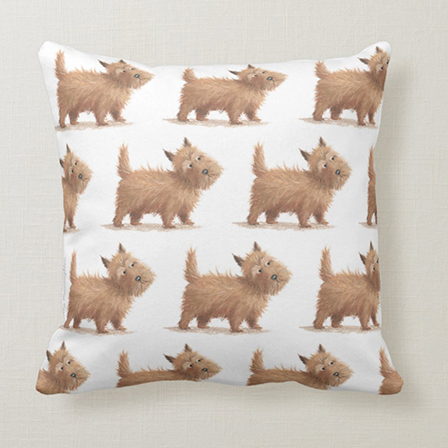 Scottish Dog / Cairn Terrier Cushion by Tina Macnaughton.