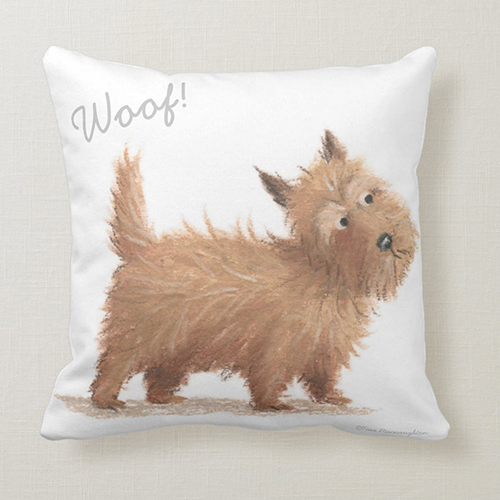 Woof - Scottish Dog Cairn Terrier - Cushion by Tina Macnaughton.