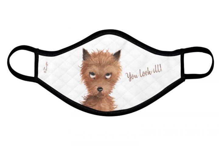 "Cheeky Puppy Dog Eyes - ""You look Ill!"" Face Mask by Tina Macnaughton."