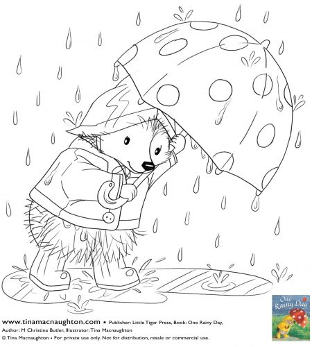 Little Hedgehog in the rain free colour in sheet by Tina Macnaughton.