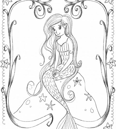 Mermaid sitting on a rock free colour in sheet by Tina Macnaughton.