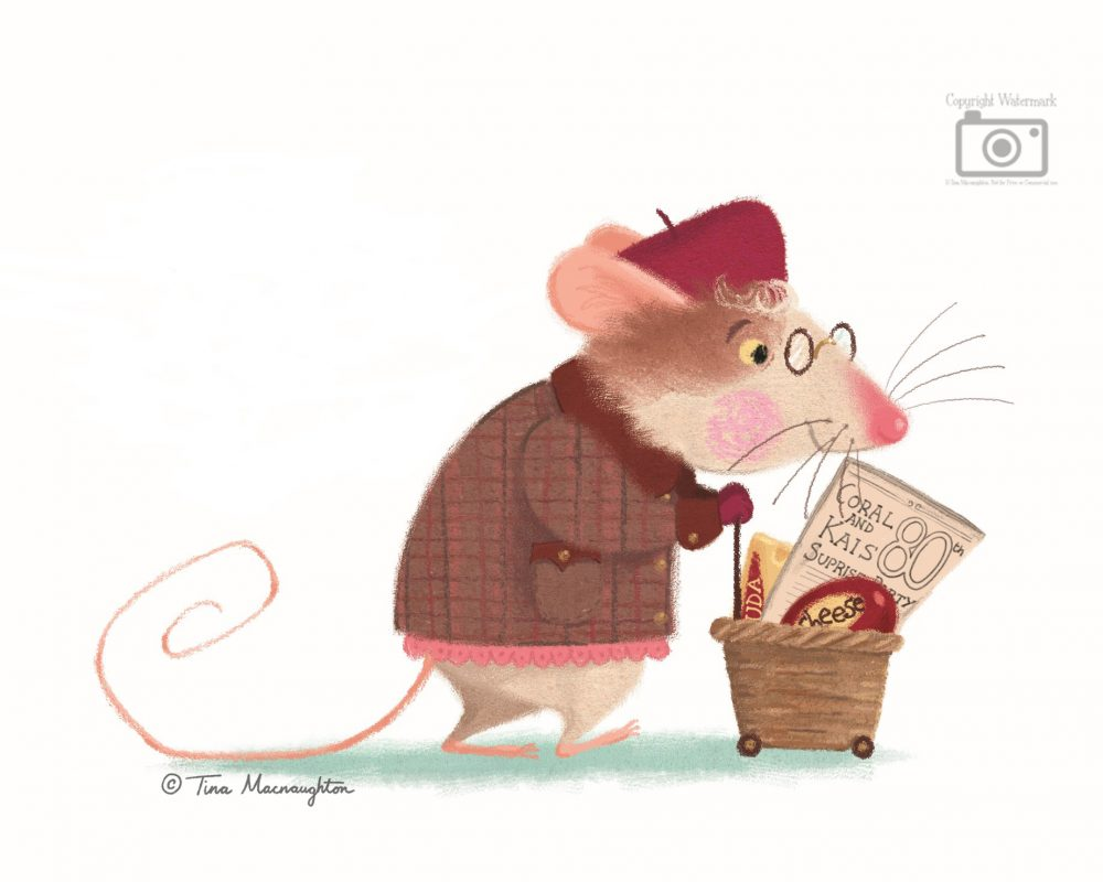 Grandma mouse on her way home after cheese shopping.